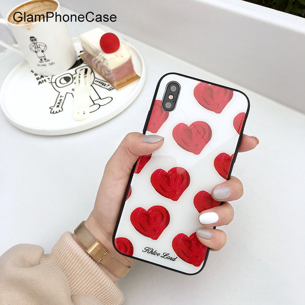 Sweet Anti-knock Hard Red Love Heart Glass Phone Case for IPhone