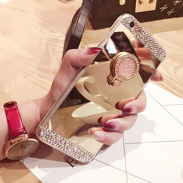 Luxury Rhinestone Soft Rubber Glitter Mirror Phone Case