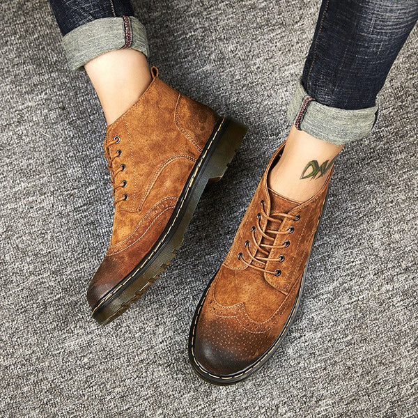 Genuine Leather Men  Autumn Winter Ankle Boots