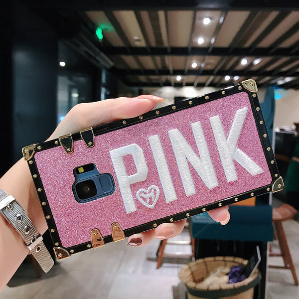 Luxury Embroidery 3D Pink Letter Phone Case For Samsung Galaxy S9 S8 Plus