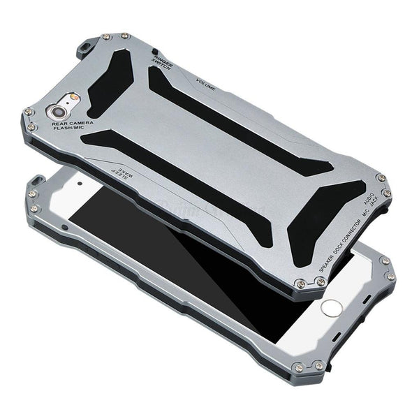 Metal Aluminum Armor Hard Case For iPhone + Tempered Glass