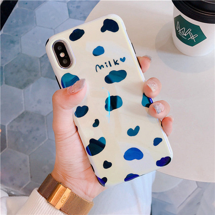Blu-ray Cute Cow Pattern Mobile Phone Cases for iphone X 8 8plus 7 7plus