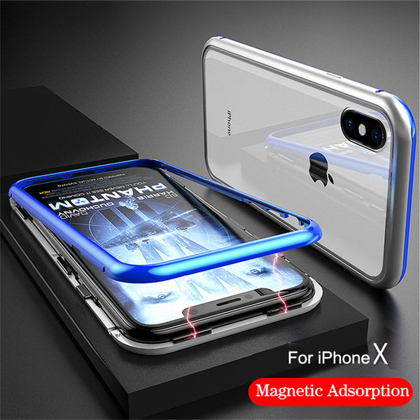 buy online bf27a f719e Magnetic Adsorption Metal Bumper Case For iphone X/8/7 Plus(BUY 2PCS TO GET  15% OFF)