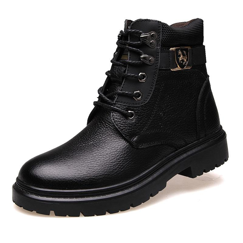 fashion warm leather high-top men's boots
