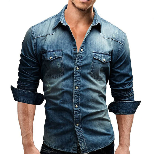 Male Long Sleeve Casual Solid Color Slim Fit Denim Shirts