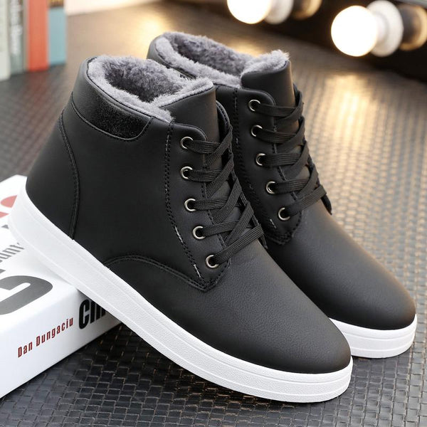 Mens Winter Lace Up  Plush Inside Snow Boot