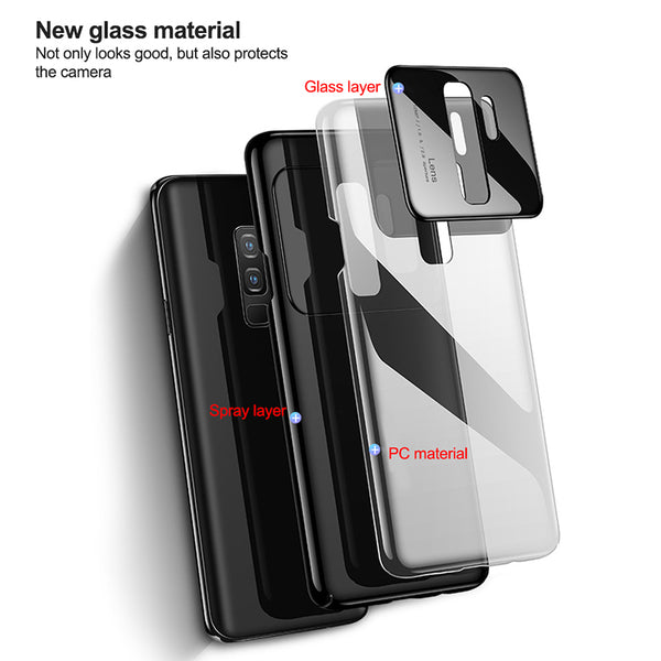 Tempered Glass Protective Phone Case For Samsung Galaxy S9/S9 Plus