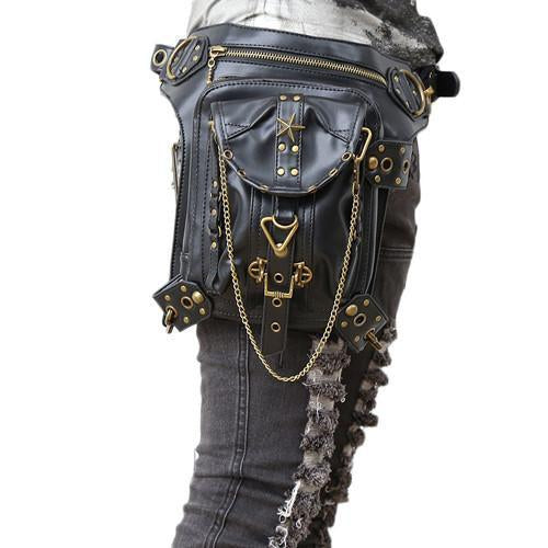Unisex Retro Rock Gothic PU Leather Waist Leg Bags