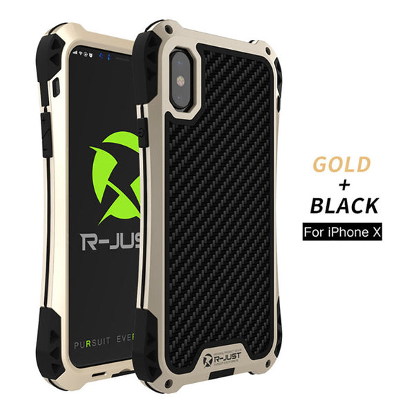 Outdoor Shockproof Water-Resistant TPU Carbon Fiber Metal Bumper Case For iPhone X