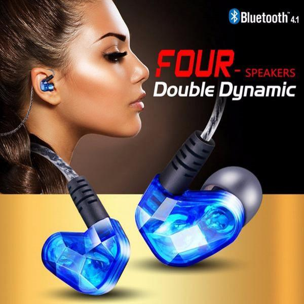 Earphone - Dual Dynamic Driver Stereo Wireless Bluetooth Earphone With Mic