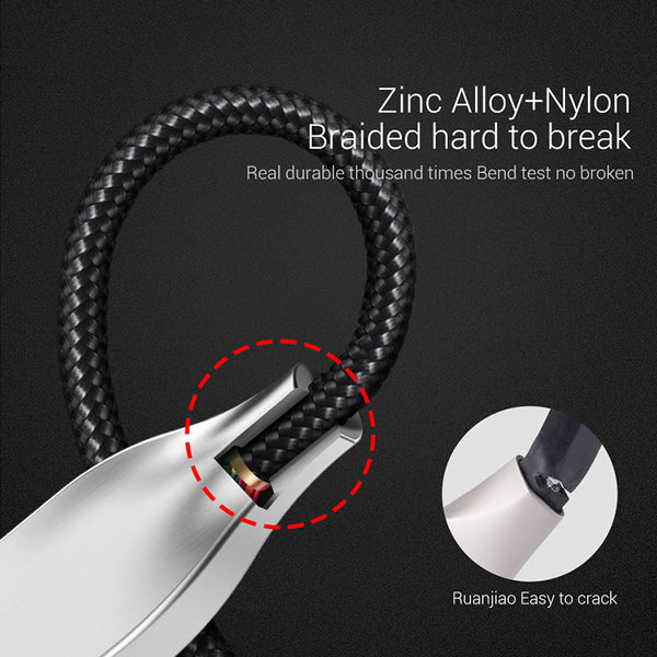 3D Zinc Alloy Cable Fast Charge Charging Nylon Braided Data Usb Micro Cables For Samsung