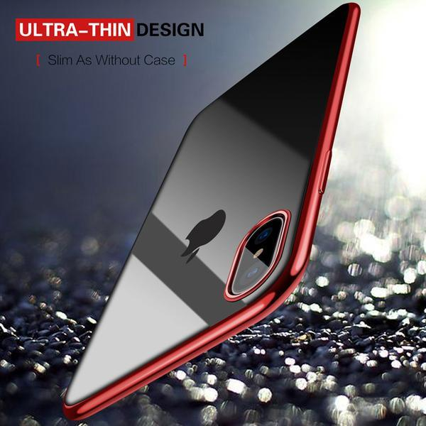 Ultra Thin Transparent Plating Case For iPhone 6 7 8 / PLUS