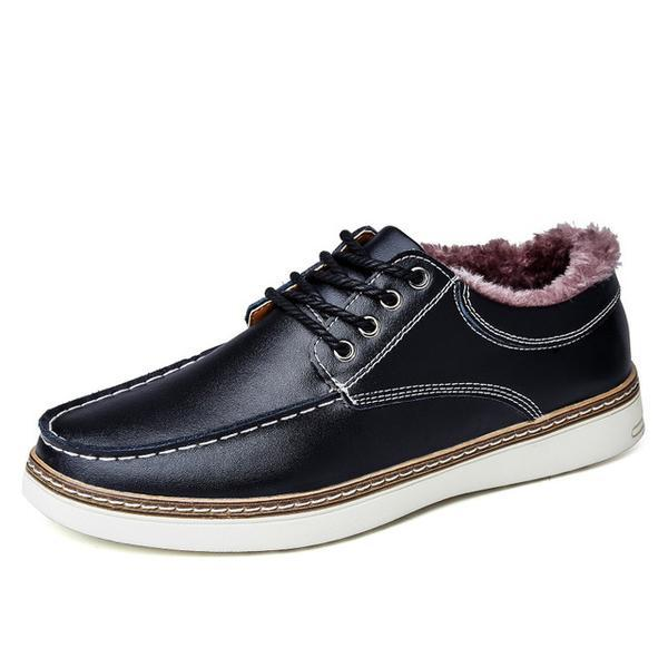 New Fashion Split Leather Men's Winter Warm Casual Shoes