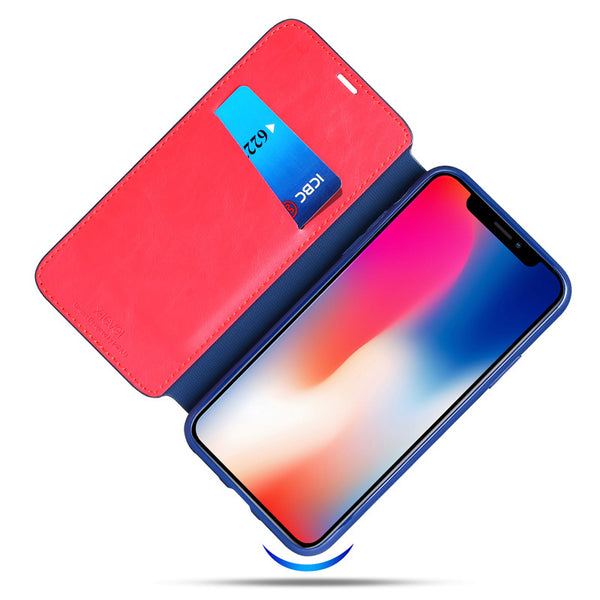 Business Style Flip  PU Leather Card Case For iPhone X