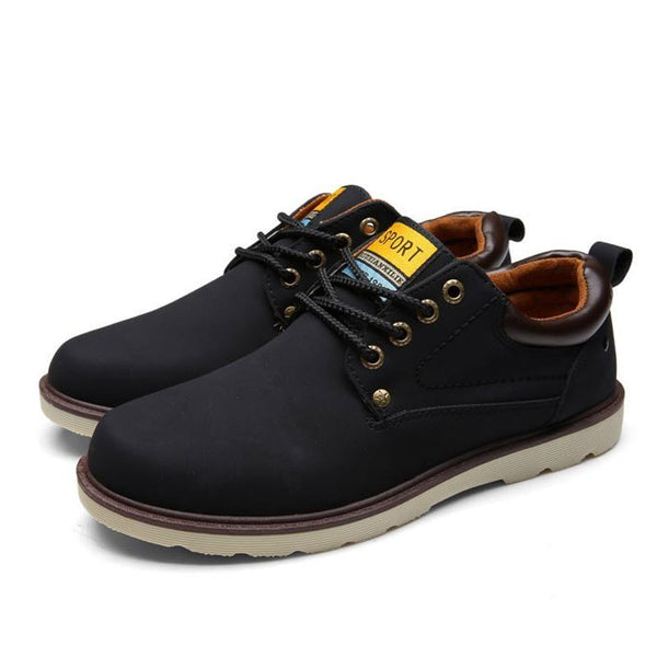 Fashion Waterproof Solid Lace-up Casual Pu Leather Shoes