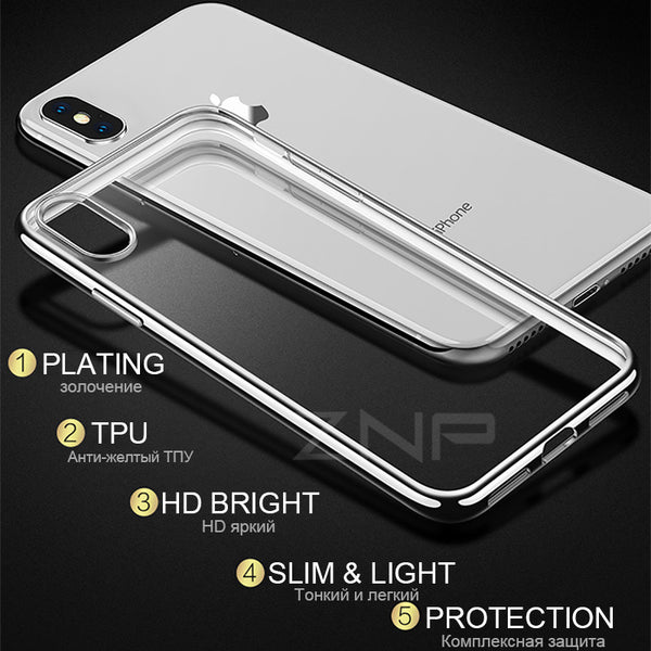 Ultra thin Silicone Plating Soft TPU Transparent Case For iphone