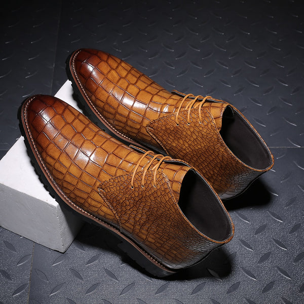 Autumn Pointed Toe Men Crocodile Leather Boots