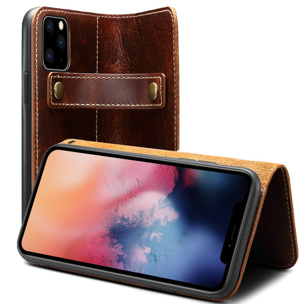 Durable Repairable Genuine Leather Wallet Case For iPhone 11/X/Xs Max/8/7