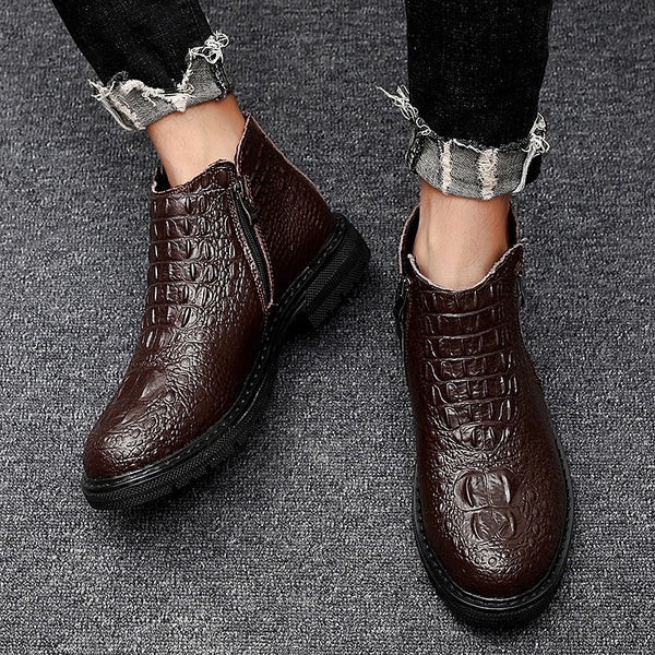 High Quality Autumn Crocodile Pattern Men Chelsea Boots