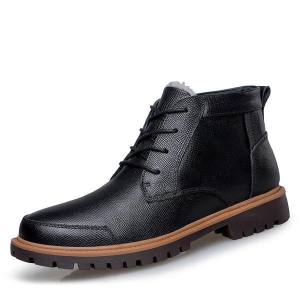 Men's Boots-Plus Size Leather Winter Ankle Boots