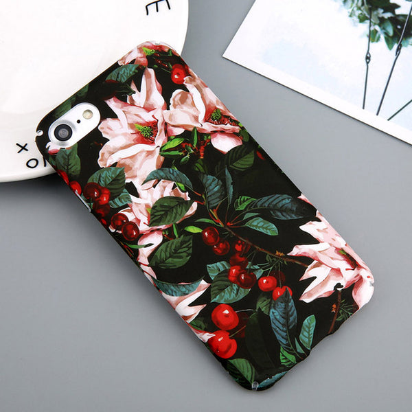 Flower Cherry Tree Hard PC Phone Cases Candy Colors Leaves Print