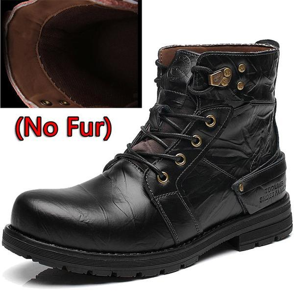Waterproof Winter Cow Split Leather Motorcycle Snow Boots