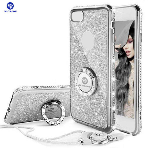 DiamondGlitter Cover For Iphone 8  X 6 6s 7 plus With Ring