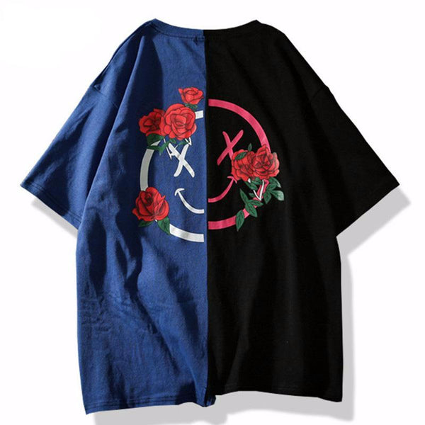 Men Flower Printed  Hit Color Patchwork  Tshirts