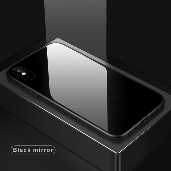 Tempered Glass Case for iPhone 8 Plus 7 X Luxury