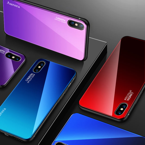 Luxury Gradient Color Tempered Glass Case For iPhone X/8/7 Plus/6S(BUY 2PCS TO GET 15% OFF)
