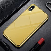 Load image into Gallery viewer, Luxury Electroplated Plain Tempered Glass Phone Cases For iPhone X 8 7 6 6S Plus