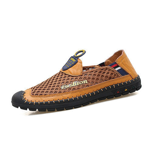 Mesh  Slip On Man Fashion Microfiber Leather  Men Casual Shoes
