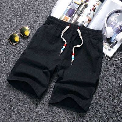 2018 Fashion Casual Solid Summer Beach Cotton Shorts