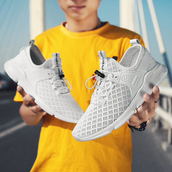 New Arrival Men Air Mesh Elastic Lace Breathable Anti-skid Casual Shoes
