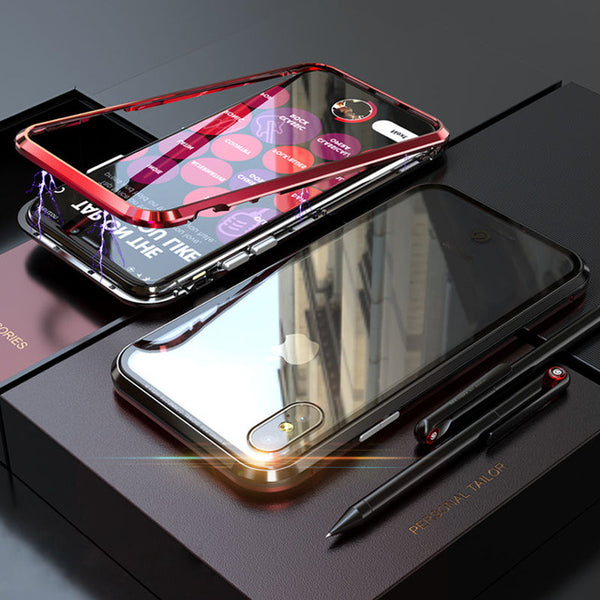 METAL BUILT-IN MAGNETS BUMPER + GLASS BACK COVER FOR IPHONE X 8 7 PLUS