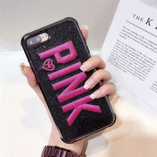 Load image into Gallery viewer, Luxury Embroidery 3D Pink Letter Case Glitter Bling Plated  Case For Samsung & IPhone