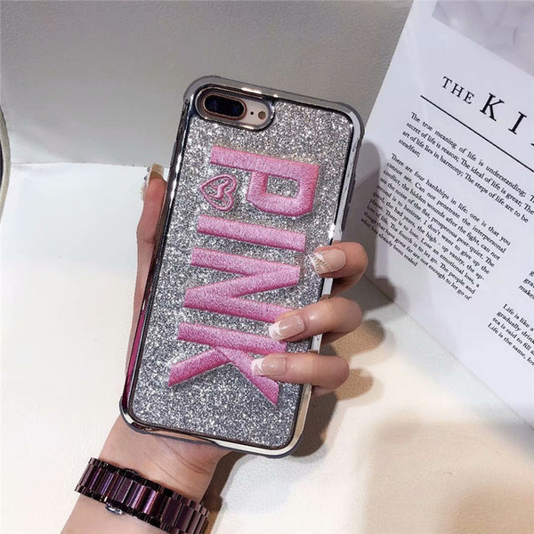 Luxury Embroidery 3D Pink Letter Case Glitter Bling Plated  Case For Samsung & IPhone