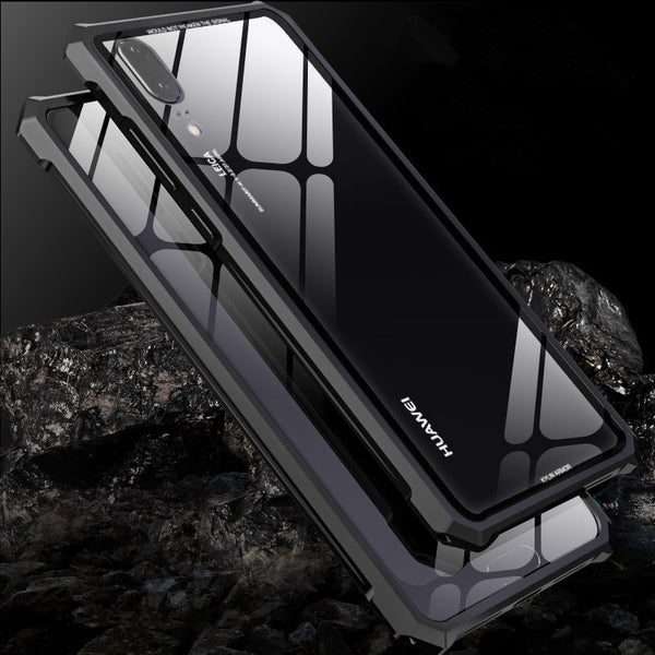 Protective Aircraft Bumper Metal Screw Phone Case with Transparent Back Tempered Glass For HuaWei