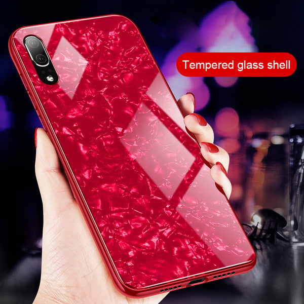 Marble Pattern Hard Back Luxury Tempered Glass Case For Huawei