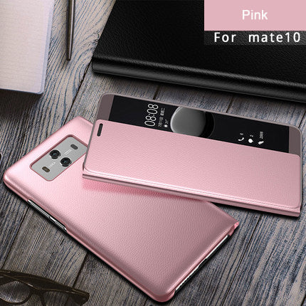 PU Leather Flip Cover Smart Window View Phone Cases For Huawei P10 Plus mate10 pro mate 9