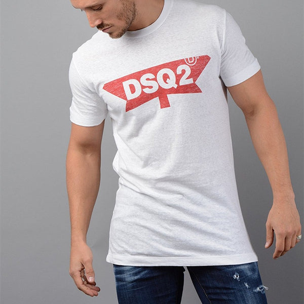 Men Plus Size  O-neck Letter Cotton Shirt