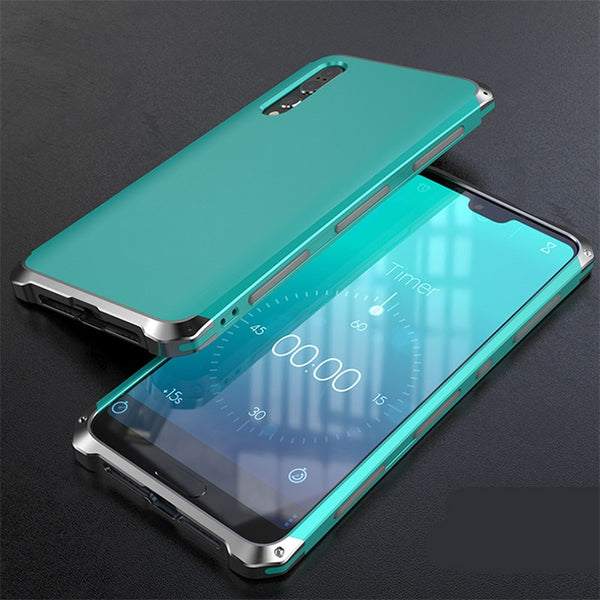 Shockproof Metal Plastic Hybrid Armor Phone Cover For Huawei P20