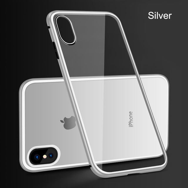 Magnetic Adsorption Case For Samsung /Iphone Clear Tempered Glass