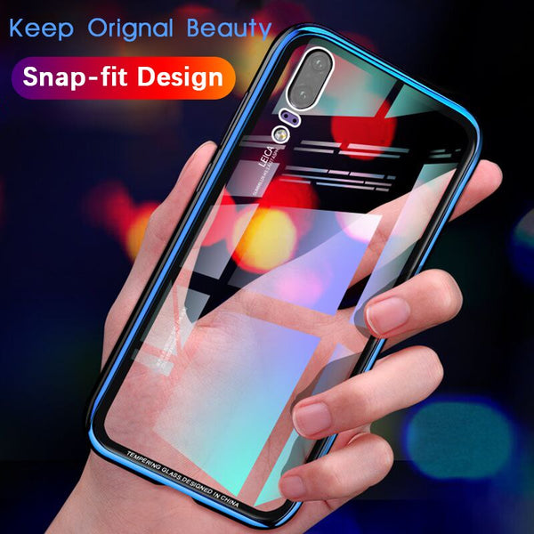 Aluminum Frame Metal Bumper Phone Case With Tempered Glass Back For huawei P20 pro