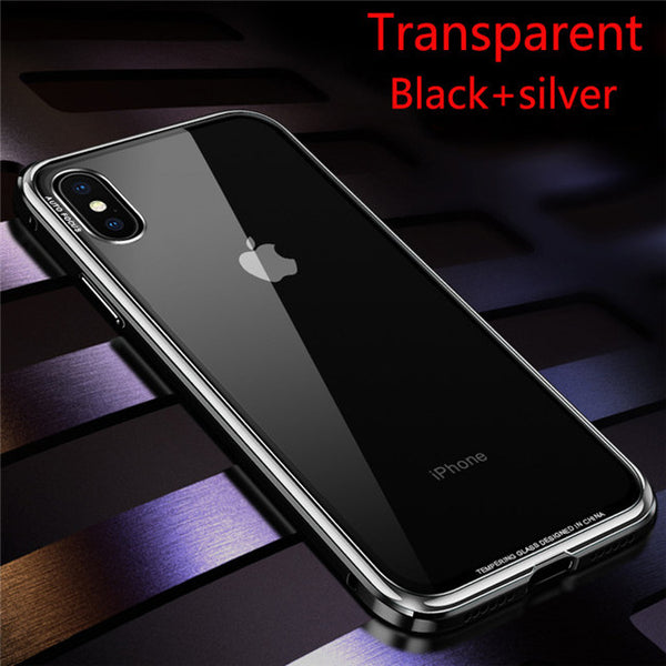 360 plating Frame Hard Tempered Glass  Metal Bumper Case For Iphone 6 7 8 X
