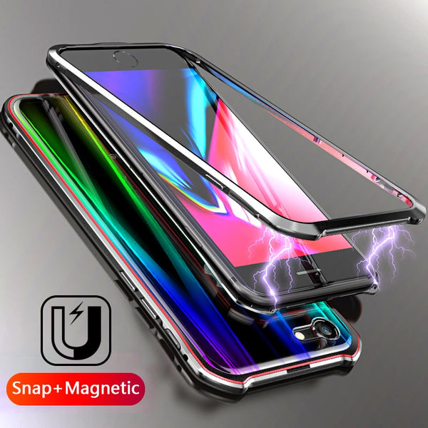 Luxury Laser Colorful Snap Magnetic Adsorption case for iphone 7 8 Plus X