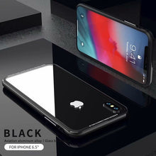 "Load image into Gallery viewer, 5.8""6.1""6.5""  Heavy Duty Armor Metal Aluminum Border+Transparent Glass Back Cover For Iphone XS/XS Max/ XR"