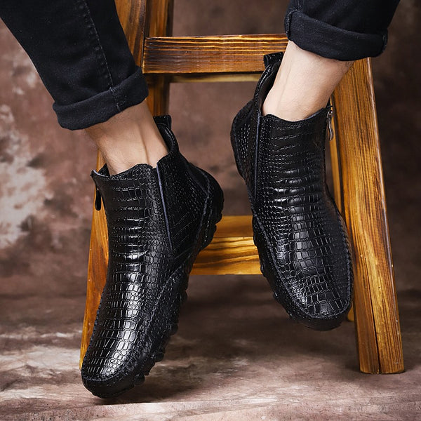 Autumn Genuine Leather Mens Crocodile Pattern Zip Boots(BUY 2 TO GET 10% OFF)