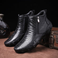 Load image into Gallery viewer, Autumn Genuine Leather Mens Crocodile Pattern Zip Boots(BUY 2 TO GET 10% OFF)