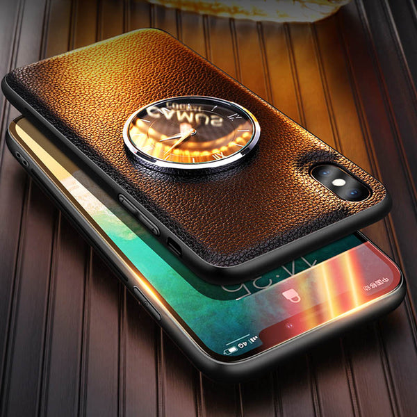 Luxury Leather Watching Time Metal Clock Case for iPhone X/XS Max/XR(BUY 2 TO GET 10% OFF)